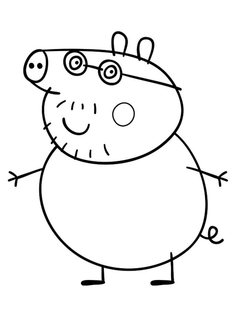 Раскраска свинка пеппа папа свин 98