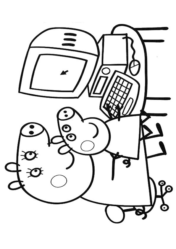 Мама со свинкой Пеппи изучают компьютер