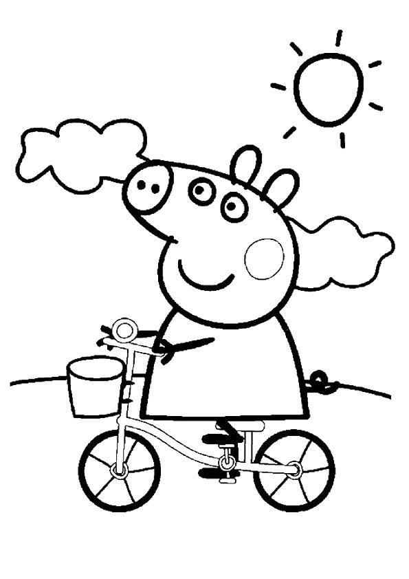 Пеппа катается на велосипеде