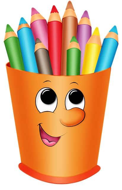 Разноцветные карандаши в забавной подставке